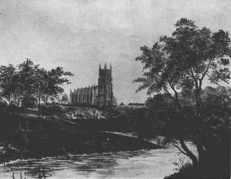 Old photo Christ Church on the banks of the River Don in Attercliffe